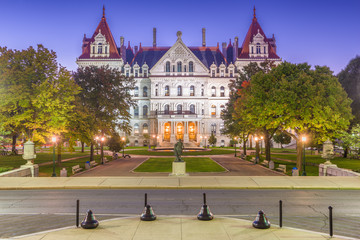 Albany, New York, USA at the New York State Capitol at twilight.