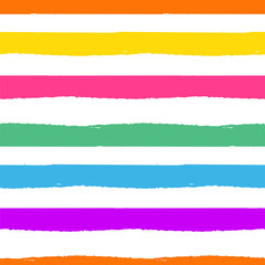 Rainbow striped seamless pattern. Rough lines rainbow repeating background vector texture.
