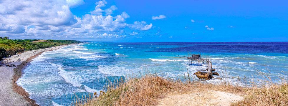 Abruzzi beach panoramic of Punta Aderci Natural Reserve in Vasto - Abruzzo - Italy named Trabocchi Coast