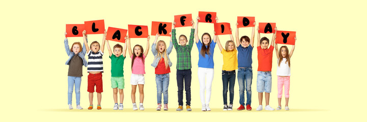 Black friday, sales concept. Group of childrens, kids and teens in bright clothing with emotions of...