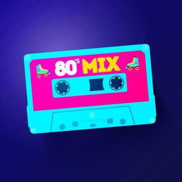 Vector Neon Cassette With Retro Label, Vintage 80s Revival Mix Tape Design