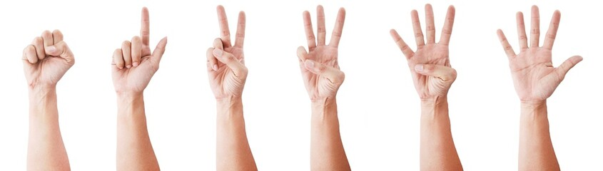 Male asian hand gestures isolated over the white background. SET 0-5 Fototapete