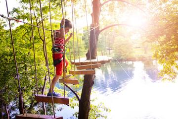 Rope adventure bridge for kids between trees Wall mural