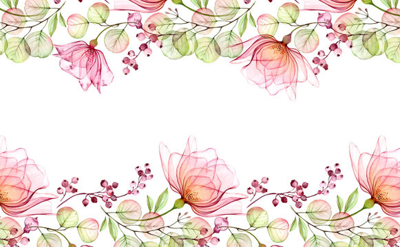 Transparent watercolor rose. Horizontal floral frame. Isolated hand drawn arrangement with big flowers and berries for wedding design, stationery card print