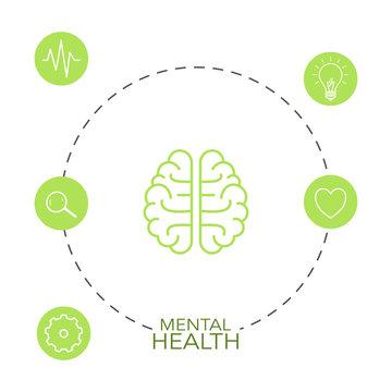 Human brain inside a circle. Mental health concept.