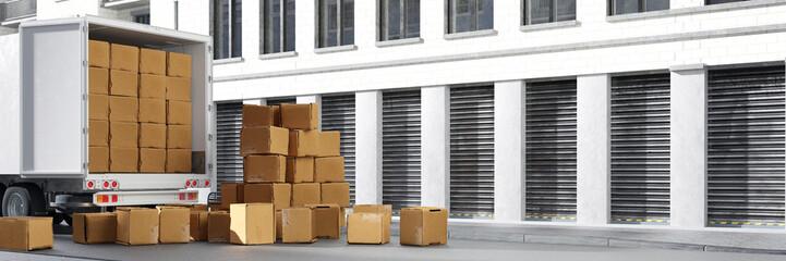 LKW von Spedition oder Umzugsfirma mit Kartons