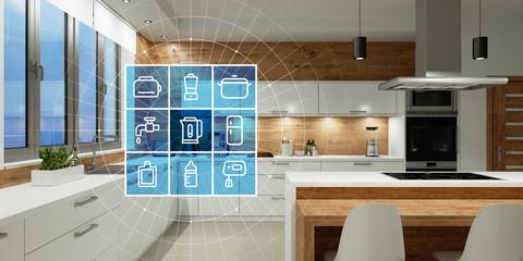 Moderne Küche mit Smart Home Technologie Interface Wall mural
