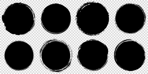 Türaufkleber Retro set of black round banners - brush painted circle on transparent background
