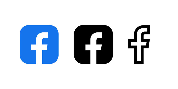 Facebook logo and icon printed on white paper in different styles