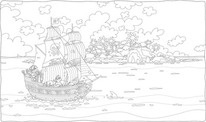 Treasure island and a sea pirate sailing ship with guns and a black flag of Jolly Roger with bones on its main mast in chase, black and white vector illustration in a cartoon style