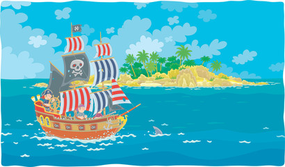 Treasure island and a sea pirate sailing ship with guns and a black flag of Jolly Roger with bones on its main mast in chase, vector illustration in a cartoon style