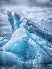 Beautiful iceberg in the jokulsarlon glacier lagoon. Global warming concept. Melting glacier