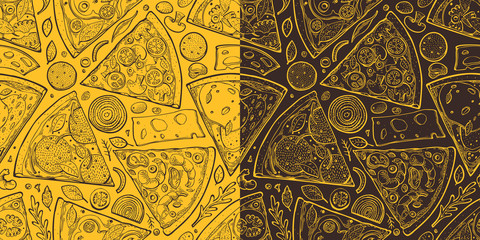 Pizza slices seamless pattern. Hand drawn vector Italian food illustration. Engraved style retro food background. Retro fast food banner.