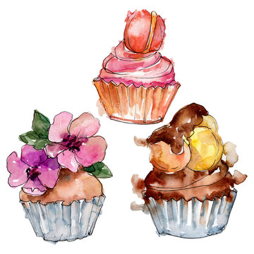 Tasty cupcake in a watercolor style. Background illustration set. Watercolour drawing fashion aquarelle isolated.