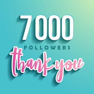 7000 followers Thank you - Illustration for Social Network friends, followers, Web user Thank you celebrate of subscribers or followers and likes.