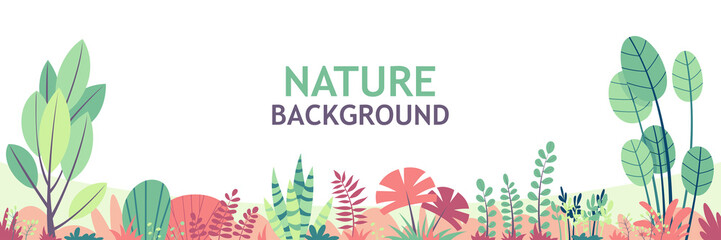 Flat nature background with copy space for text, for banner, greeting card, poster and advertising Wall mural