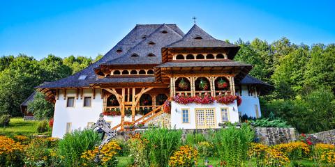 BARSANA MONASTERY - AUGUST 16. Unidentified tourists visiting Barsana monastery on August 16, 2019. Maramures area, Romania