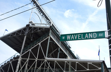 CHICAGO,IL/USA - 8-09-2017: Wrigley Field in Chicago, home of the Chicago Cubs, showing the Waveland Ave. street sign