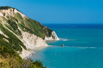 The Mezzavalle beach in the Conero area near Ancona during the summer