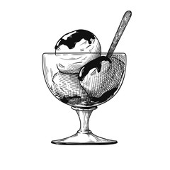 Realistic sketch of ice cream in a vase. Vector illustration
