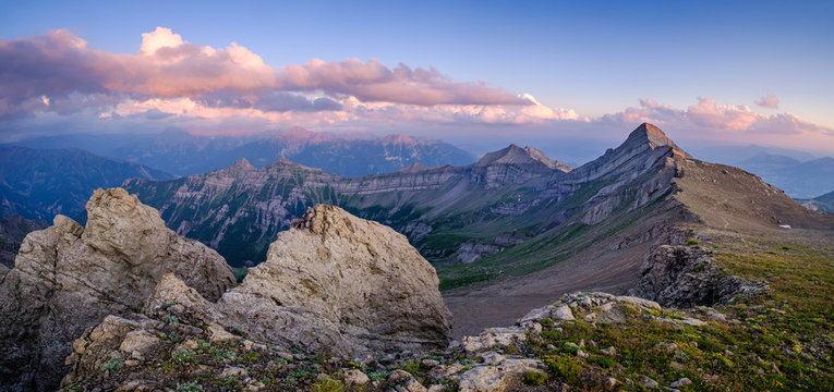 Sunset over the Gap Valley, the Drac Valley and the Tourond peak in the Ecrins National Park, French Alps