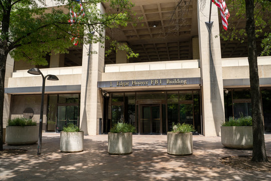 Washington, DC - August 4, 2019: Exterior of the J. Edgar Hoover FBI Building Headquarters in downtown DC