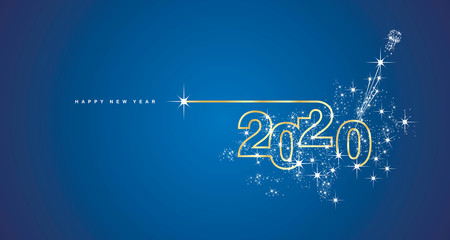 New Year 2020 line design firework champagne gold shining white blue vector