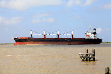 Tanker with petroleum goes the Mississippi upstream