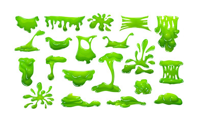 Realistic green slime in shape of dripping blob splashes smudges Wall mural