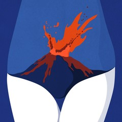 Illustration of midsection of woman with exploding volcano