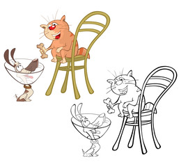 In de dag Babykamer Illustration of a Cute Cartoon Character Little Puppy and Cat for you Design and Computer Game. Coloring Book Outline Set