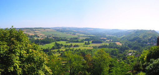 panoramic view of the valley from the village of Cordes-sur-Ciel, favorite village of the French, in Occitania (South of France)