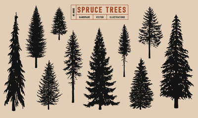 Spruce tree silhouette vector illustration hand drawn Wall mural