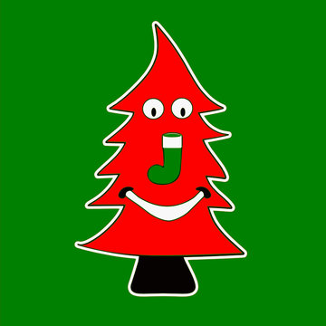 Unique red colored Christmas tree with comic smiley face vector illustration.