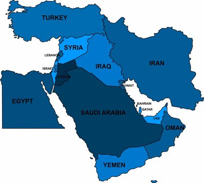 Blue Middle East map on white background. Vector illustration.