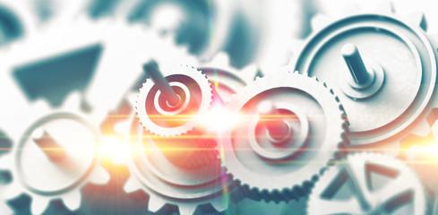 Fondo de mecanismo y engranajes. Imágen conceptual de tecnología e ingeniería mecánica.Industria del motor.Concepto de fuerza y progreso