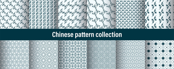 Set of chinese pattern. Modern background design. Vector template set. Vintage abstract seamless chinese traditional pattern. Endless texture for wallpaper, pattern fills, web page, surface textures. Wall mural