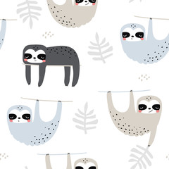 Seamless childish pattern with funny sloths. Creative kids texture for fabric, wrapping, textile, wallpaper, apparel. Vector illustration