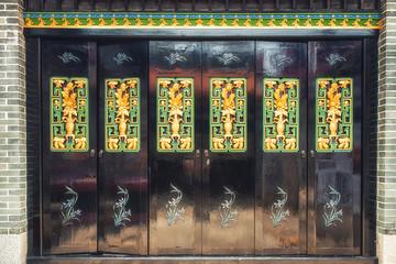 Ornately painted door at Pak Tai Temple, Cheung Chau island, Hong Kong