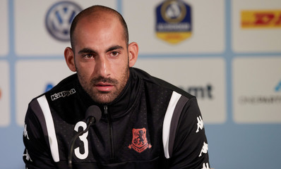 Bnei Yehuda player Dan Mori is seen during a news conference at a football stadium in Malmo