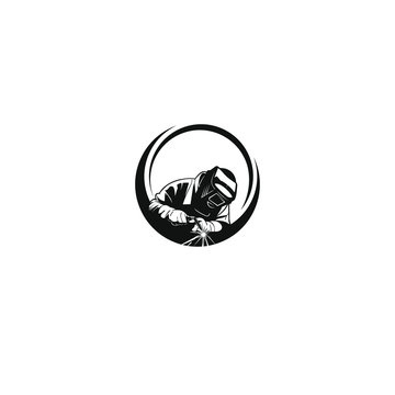 welding logo vector industrial company with black circles designs illustration