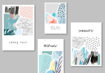 Universal Greeting Card Layouts with Illustrative Elements