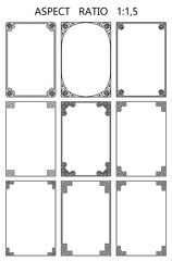 Set of vector rectangular frames in traditional greek style