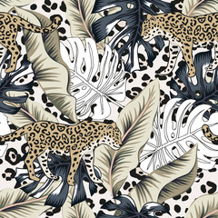 Tropical leopard, banana, monstera palm leaves, animal print background. Vector seamless pattern. Graphic illustration. Exotic jungle plants. Summer beach floral design. Paradise nature
