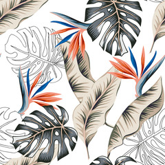 Tropical strelitzia flowers, monstera, banana palm leaves, white background. Vector seamless pattern. Jungle foliage illustration. Exotic plants. Summer beach floral design. Paradise nature