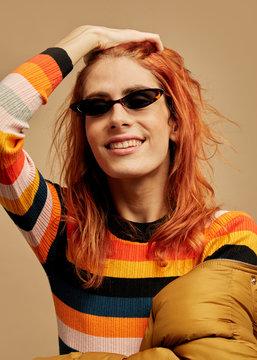 Beautiful androgynous woman fun portrait