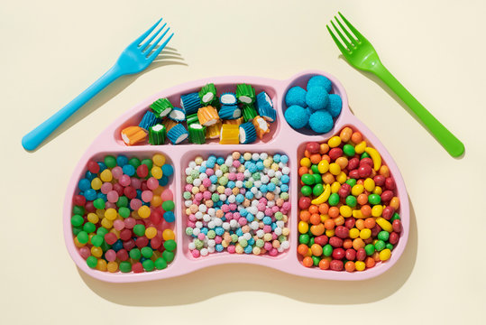 tv dinner with different candies
