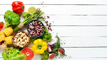 Organic food Fresh vegetables and fruits on a white background. Top view. Free copy space.