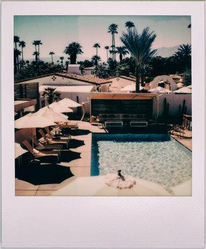 Vintage Polaroid of Classic California Resort Swimming Pool