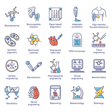 Bioengineering color icons set. Biotechnology for health and comfort. New methods of diseases diagnosis and treatment, genetic engineering, artificial intelligence. Isolated vector illustrations